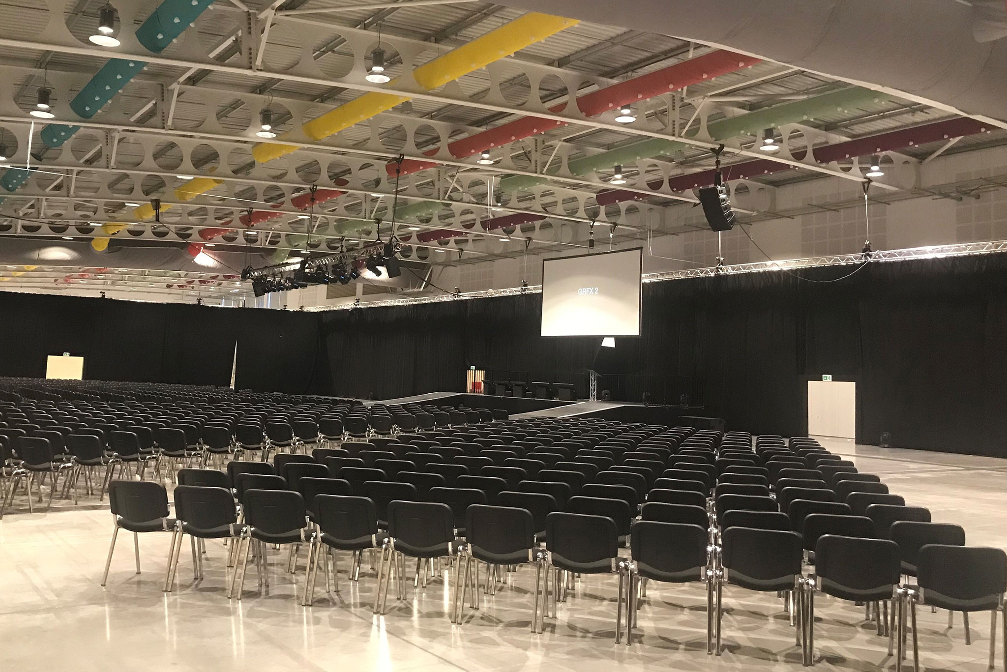 Conference seating in Hall 1 from 600 - 3000 delegates at the Yorkshire Event Centre